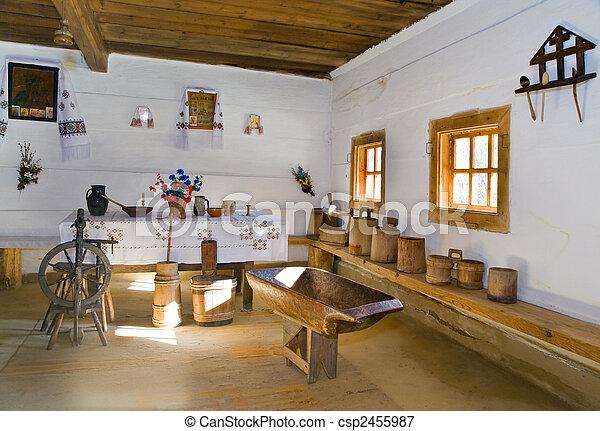 Ukrainian historical peasant dwelling interior - csp2455987