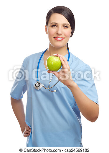 Doctor with green apple - csp24569182