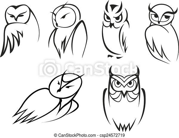 Owl bird icons in doodle sketch outline style - csp24572719
