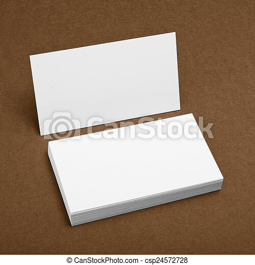 Blank business cards on a brown background