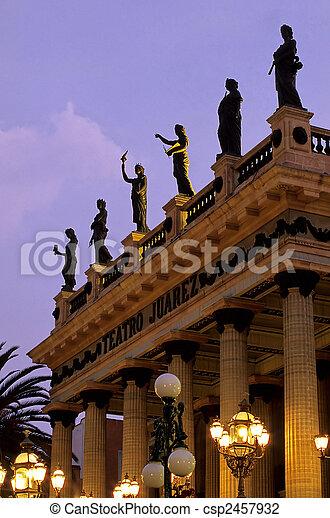 Exterior of the 19th century Teatro Jaurez in the colonial mining town of Guanajuato (Guanajuato State)- Mexico