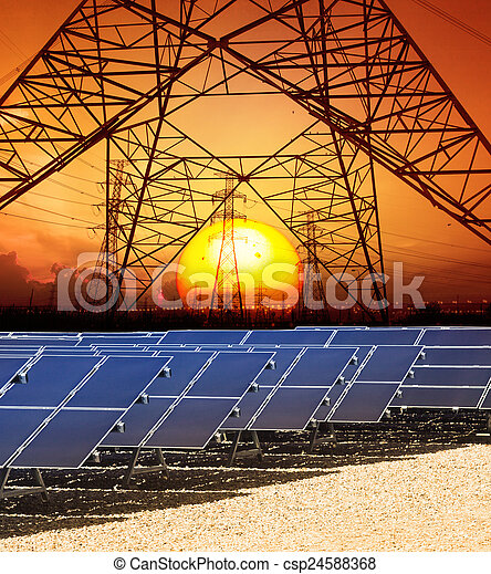sun set with structure of high voltage electric power tower and