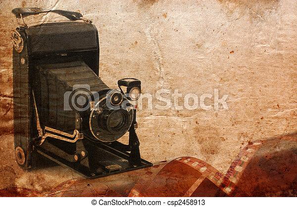 medium format retro camera vintage background - csp2458913