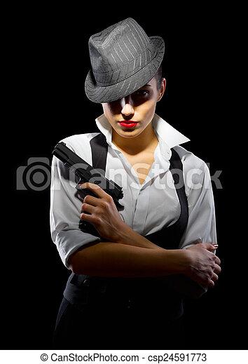 女孩, 犯罪, 黑色的槍, 被隔离 - csp24591773