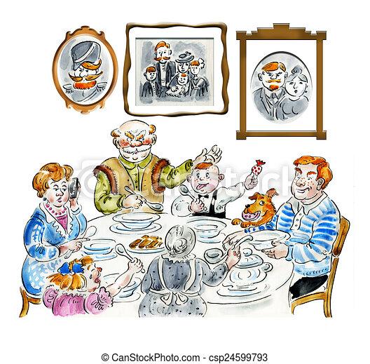 Stock Illustration of Family dinner table comic ...