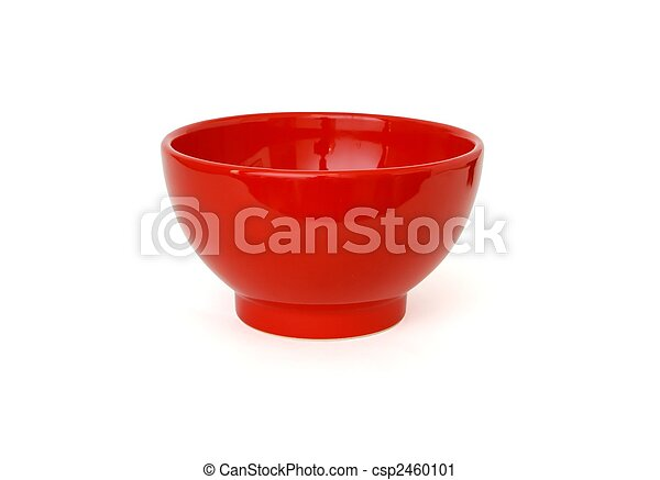 Red porcelain bowl isolated on white background - csp2460101