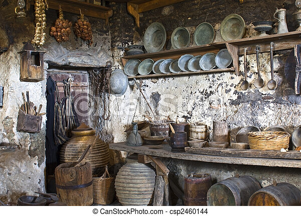 Old traditional kitchen inside a Greek monastery at Meteora - csp2460144