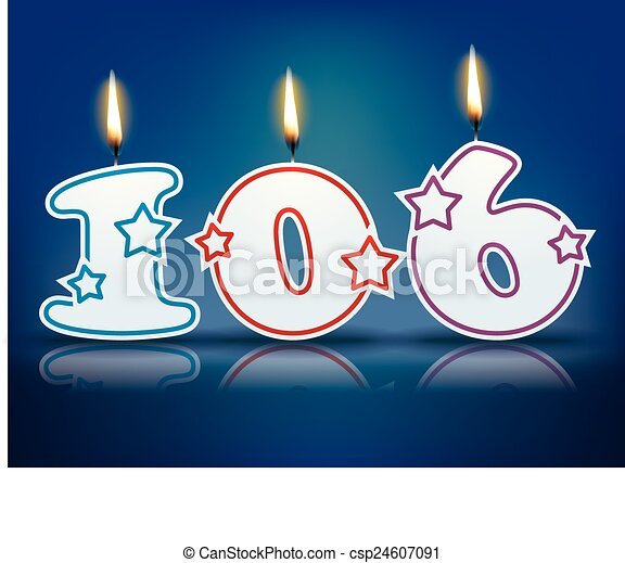 Vector - Birthday candle number 106 - stock illustration, royalty free ...