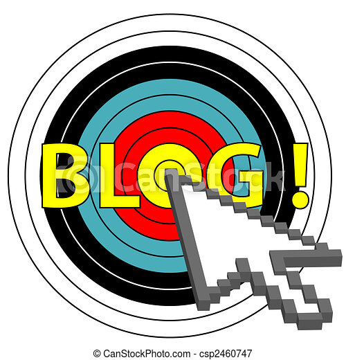 blog on target click with arrow cursor icon - csp2460747
