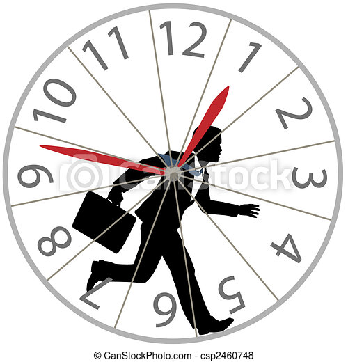 business man runs rat race in hamster wheel clock - csp2460748