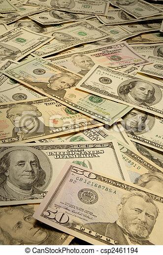 American banknotes of various denominations - csp2461194