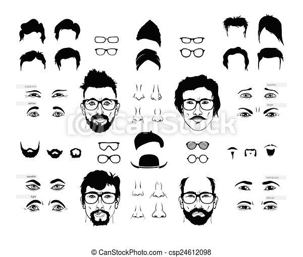 vetor eps de pessoa elementos homens rosto vetorial