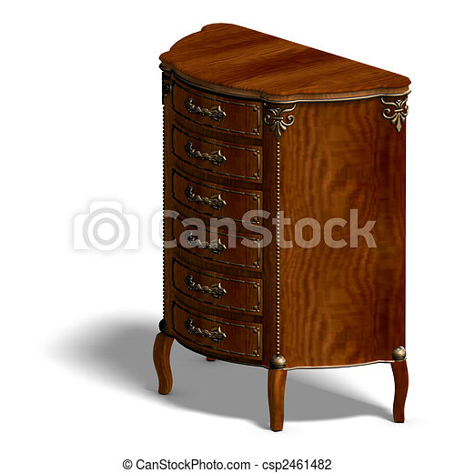 wooden commode with drawers of Louis XV. - csp2461482