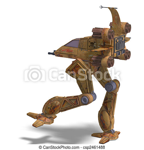 futuristic transforming scifi robot and spaceship - csp2461488