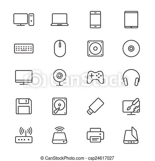 Computer thin icons - csp24617027