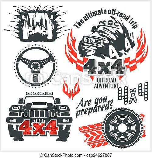 Off-road elements and emblem - vector set - csp24627887