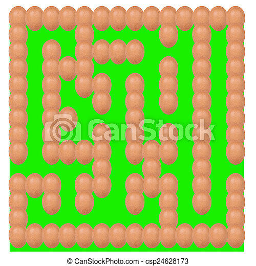 eggs setting Maze or labyrinth green base isolated on white background - csp24628173