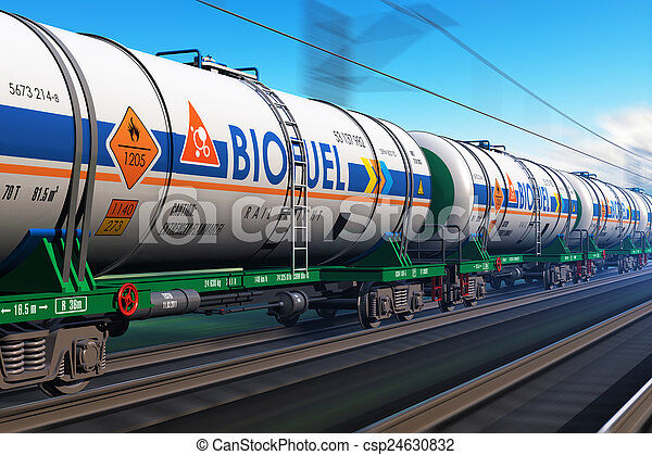 Freight train with biofuel tankcars - csp24630832