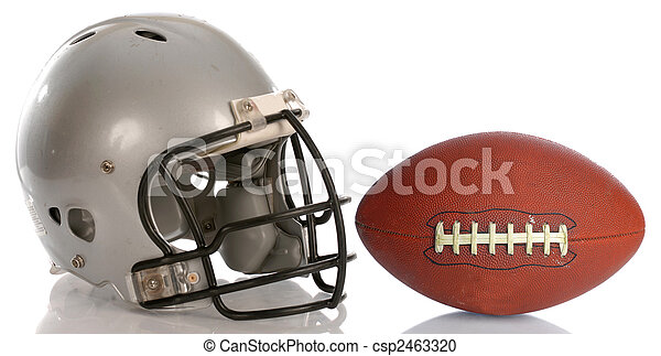 protective football helmet and leather football with reflection - csp2463320