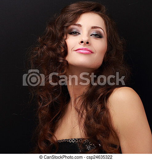 Happy makeup woman with bright makeup. Closeup portrait