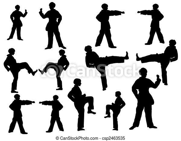 taekwondo-fighter-silhouette - csp2463535