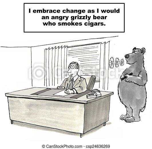 Stock Illustration of Resisting Change - Cartoon of businessman ...