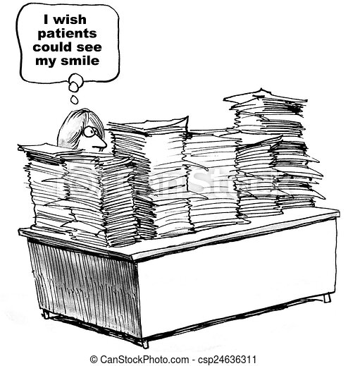 Clipart Of Lots Of Paperwork Cartoon Of Doctor With Lots