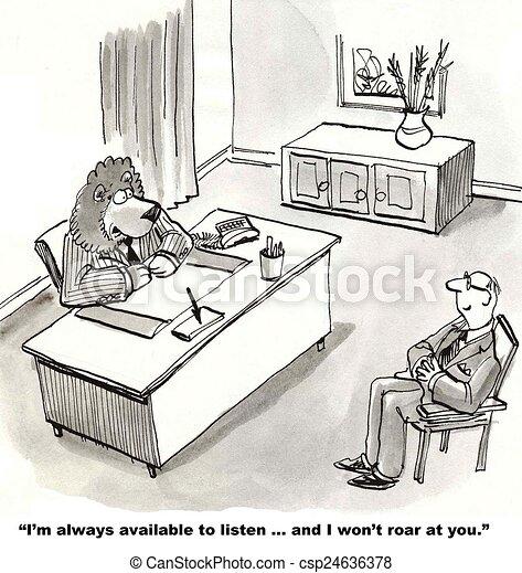 Stock Illustrations of Open Door Policy - Cartoon of lion ...