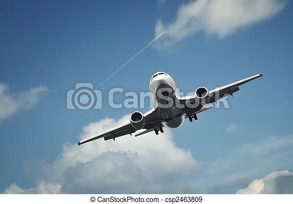 passenger airplane landing - csp2463809