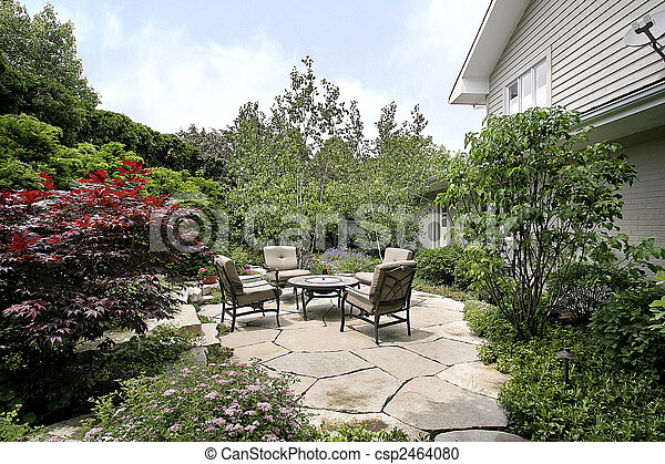 Patio and stone sidewalk - csp2464080