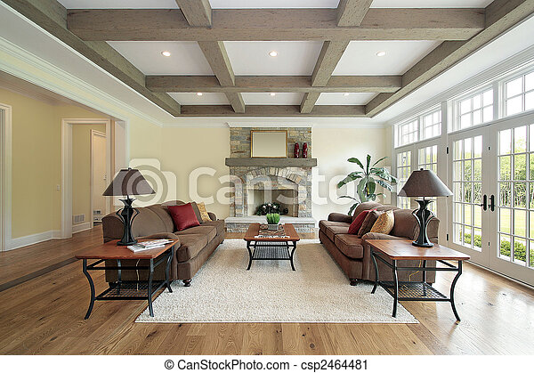 Family room with wood ceiling beams - csp2464481