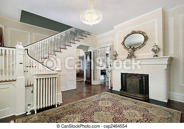 Foyer with fireplace - csp2464554