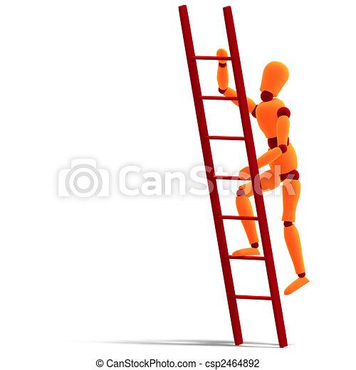orange / red  manikin climbing a ladder - csp2464892