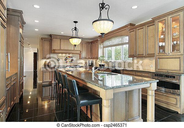 Photo cuisine ch ne bois cabinetry image images photo libre de droits photos sous - Cuisine de luxe americaine ...
