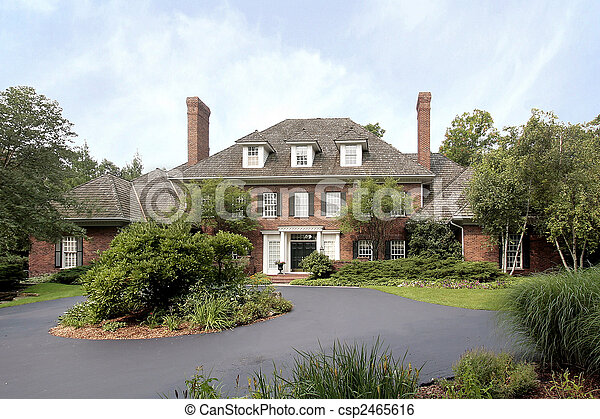 Stock Photo - Large brick home - stock image, images, royalty free ...