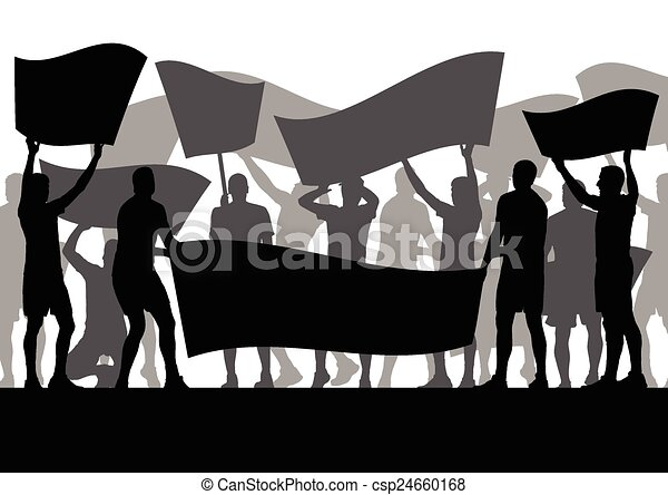 Clip Art Vector of Protesters angry people crowd with posters and ...