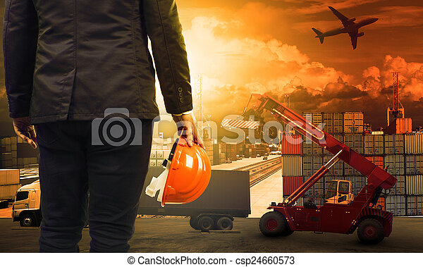 working man in container dock and land , air transport , import ex