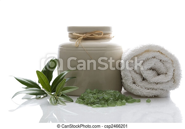 fresh olive branch and bath salt. spa - csp2466201