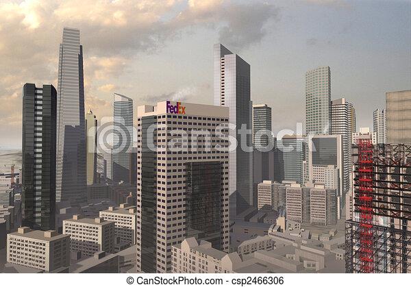 a 3d model of an imaginary city illustration - csp2466306