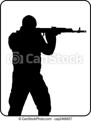 Silhouette of shooting man - csp2466657