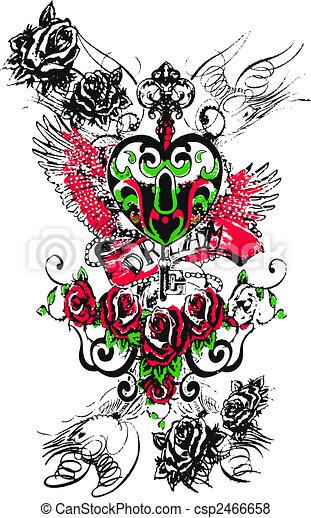 angel heart royal key emblem - csp2466658