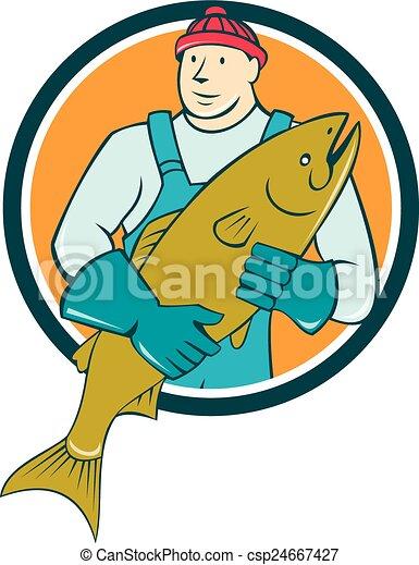 Illustration Vecteur de poissonnier, fish, Cercle, tenue ...