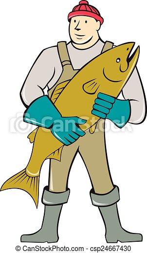 Vecteurs de poissonnier, debout, fish, dessin animé, tenue ...