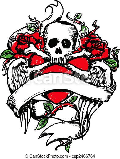 Skull Rock Tattoo Emblem - csp2466764