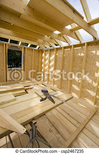 part of a wood house construction - csp2467235