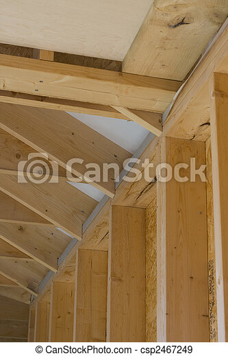 part of a wood house construction - csp2467249