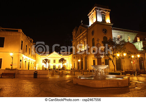 One of Macau\'s many squares and churches by night - csp2467556
