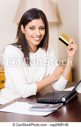 woman doing internet banking - csp2468146
