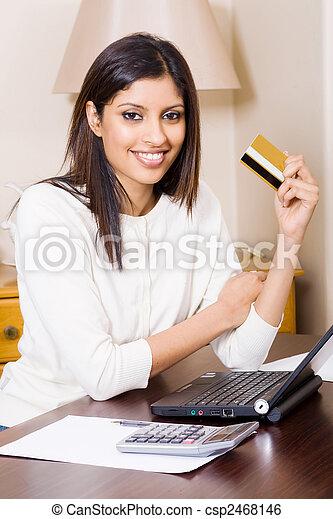 woman doing internet banking - csp2468146