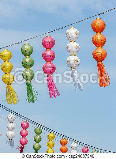 Thai festival decoration with lantern, thailand.